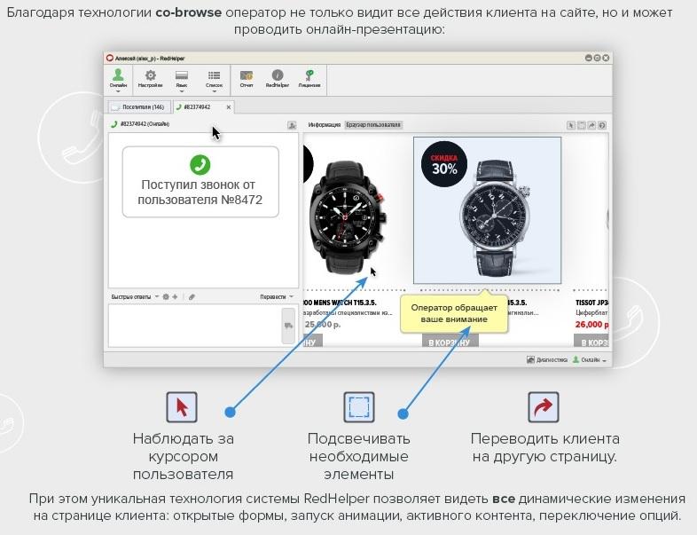 Совместный браузер обратного звонка RedConnect